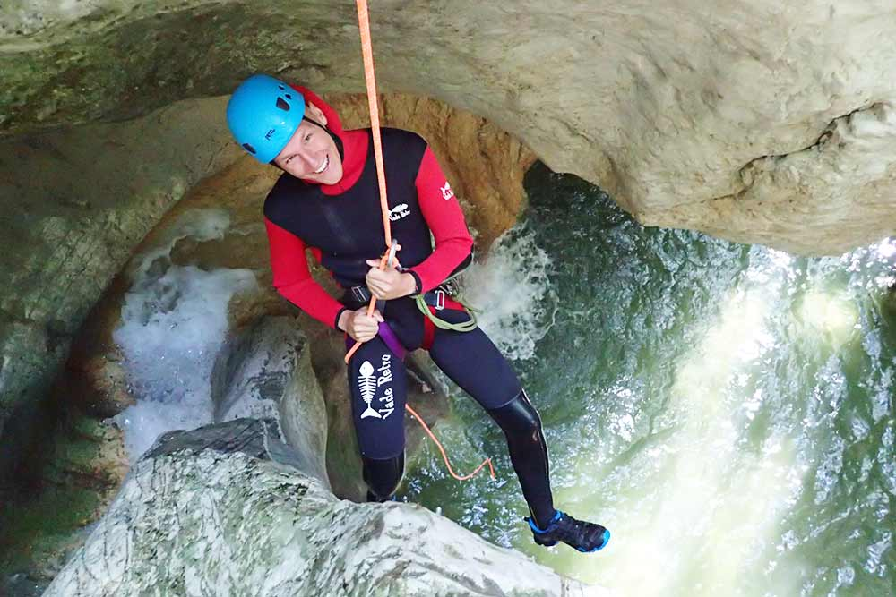 rappel suspendu au canyon pont du diable
